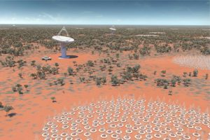 Artists impression of SKA-low on the MRO with ASKAP. Credit: SKAO.